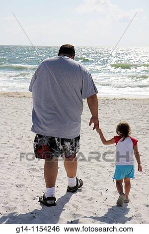 Florida Bonita Springs Gulf Of Mexico Ocean Public Beach Little Hickory Sand Man Father Daughter Child Walking Holding Hands