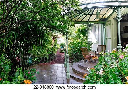 Stock Image   Foliou0027s House Traditional Creole House And Garden, Hell Bourg  Village,