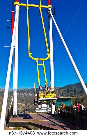 Stock Photo Of Giant Canyon Swing 1300 Feet Above The Colorado