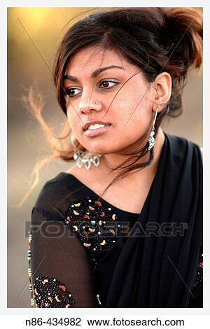 Indian Girl With Nose Ring Stock Image N86 434982 Fotosearch