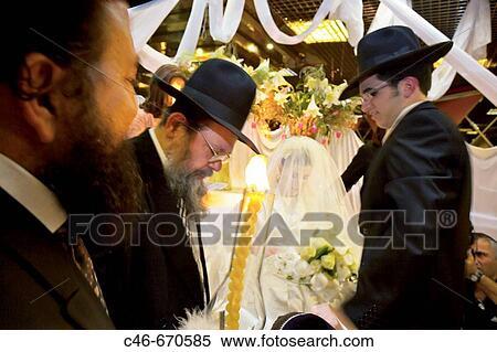 Matrimonio, ebrei ortodossi, gerusalemme, israele Archivio fotografico