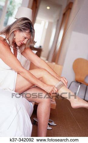 stockings lingerie woman mature