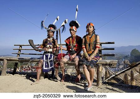 Naga people in traditional dress  Stock Photo
