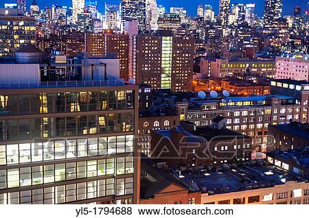 Images New York Ny Usa Nuit Overviews Cityscapes Depuis