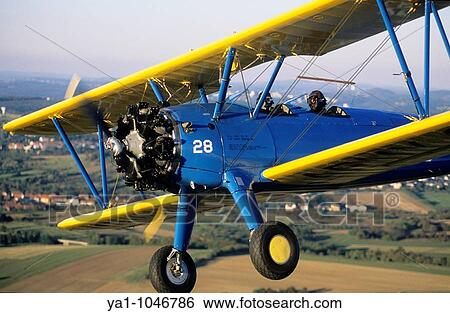 Old american trainer biplane aircraft Boeing PT-17 Kaydet / Stearman model  75 with Continental radial engine - France Stock Photograph