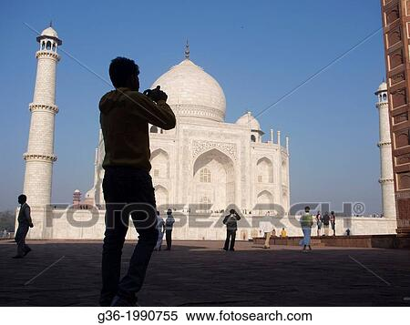 Silhouette Of Tourists At Taj Mahal In Agra Uttar Pradesh India Stock Photography