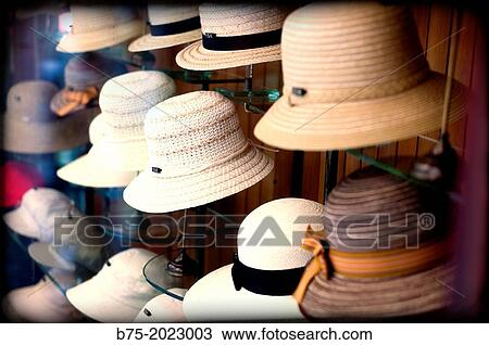 Stock Photo - Store showcase classic hat shop in the center of Barcelona 9a7fb7dea55