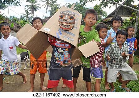 Ubud Bali Indonesia Village Kids Making Gestures In