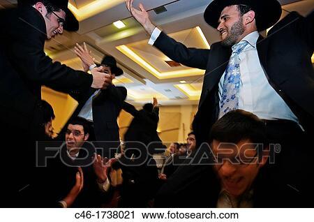 Uomo, ballo, matrimonio, ebrei ortodossi, gerusalemme, israel  Archivio  Immagini