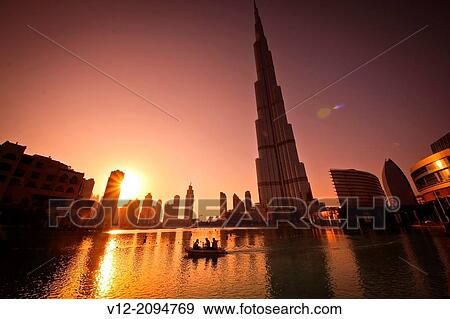 Sunset Building Dubai Downtown Dubai at Sunset