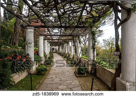 Villa San Michele Gardens Isle Of Capri Capri Province Of Naples Campania Italy Europe Stock Photo