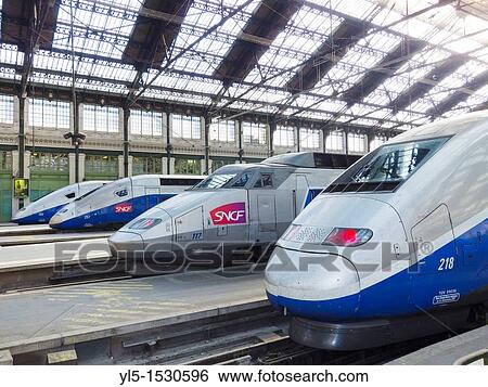 stock images of paris france french tgv bullet train inside gare de lyon train station. Black Bedroom Furniture Sets. Home Design Ideas