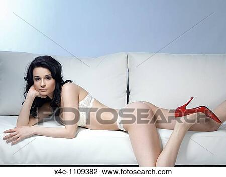 Brilliant Young Beautiful Woman In Lingerie And Red Stiletto Shoes Uwap Interior Chair Design Uwaporg