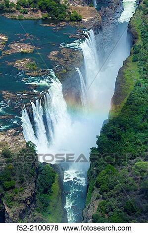 Zambezi River Victoria Falls Or Mosi Oa Tunya Zambia And Zimbabwe Africa Stock Photo