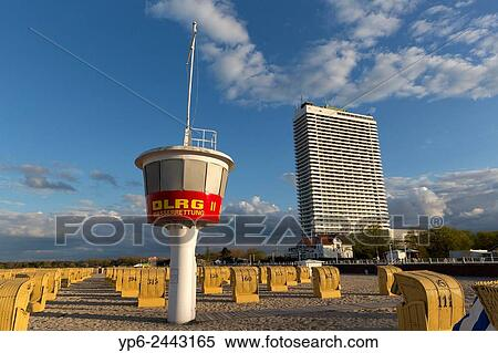 Beach At The Baltic Sea With Chairs Liuard Tower And High Rise Hotel Travem Nde Schleswig Holstein Germany