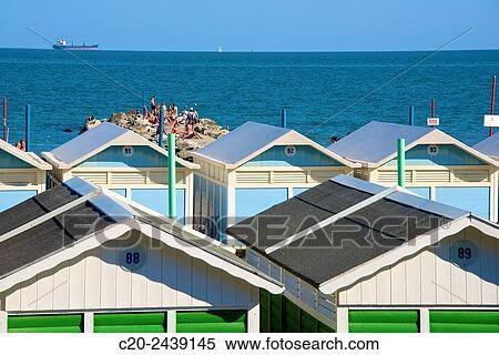 Beach Huts And Sun Deck Lido Venice Venetia Italy