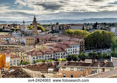 Stock Photo Of Tarazona Panoramic Views Of City In Autumn Zaragoza