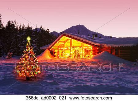 Log Cabin Christmas.Girdwood Log Cabin Christmas Lights Decorations Dusk Ak Southcentral Winter Scenic Snow Stock Image