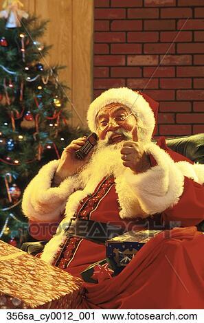 Stock Fotografie - weihnachtsmann, reden, auf, mobilfunk, geschenke ...