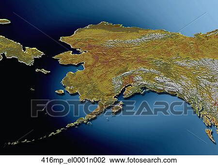 Stock Photo Of Topographical Map Of The State Of Alaska