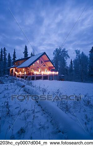 Stock Photo Of Log Cabin In The Woods Decorated With Christmas