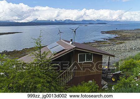 Archivio fotografico solare pannelli e vento - Elettricita in casa ...
