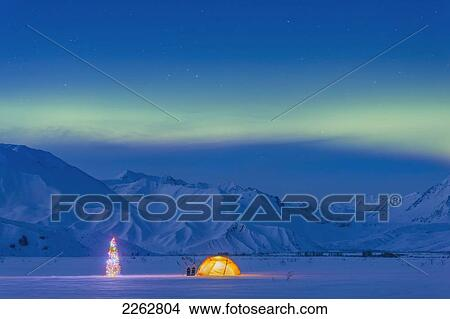 stock photo of northern lights glow in the sky above a backpacking tent and lit christmas tree at twilight alaska range in the distance in winter isabel