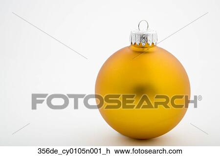 Stock Photo Of Gold Christmas Tree Bulb Ornament On White Background