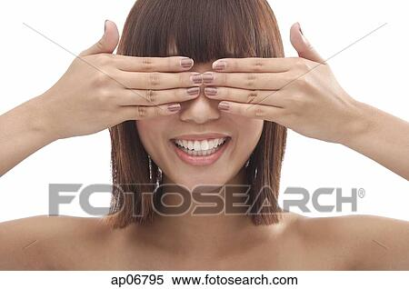 若い女性, ∥で∥, 手が目を覆う ストックフォト/写真素材 | ap06795 ...
