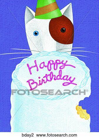 Cake Art Clip Eating Cat Birthday