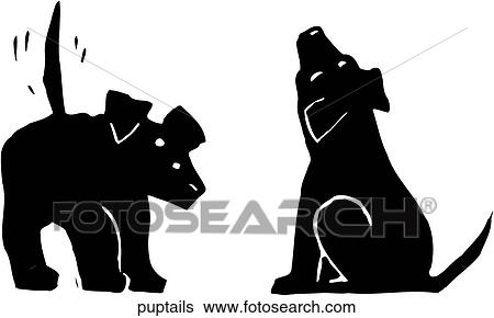 Clip Art Of Puppy Dog Tails Puptails Search Clipart Illustration
