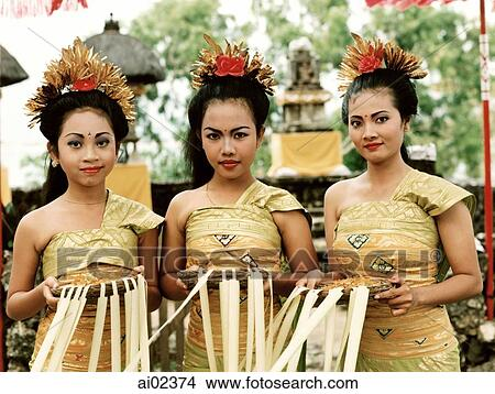 Indonesia Bali Women Dancers In Traditional Costume Picture