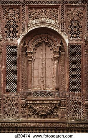 stock photo of lattice window at mehrangarh fort jodhpur india