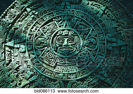 Green aztec calendar stone carving stock image bld086113 fotosearch