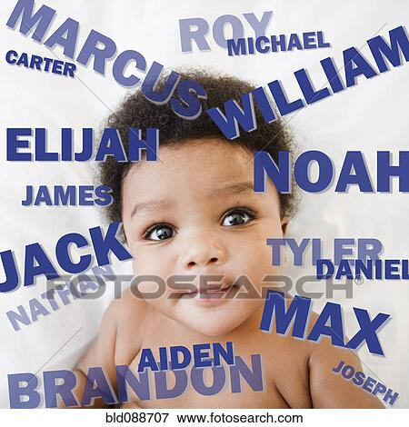 African American baby boy surrounded by boy's names Stock Photo