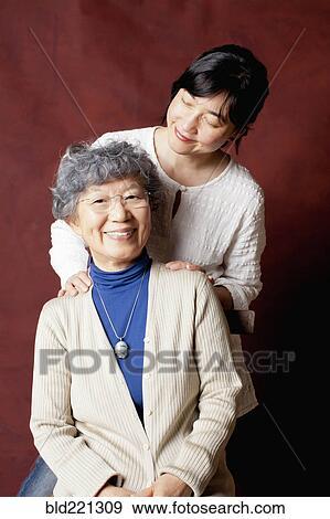 Japanische, mutter tochter, lächeln Stock Foto | bld221309
