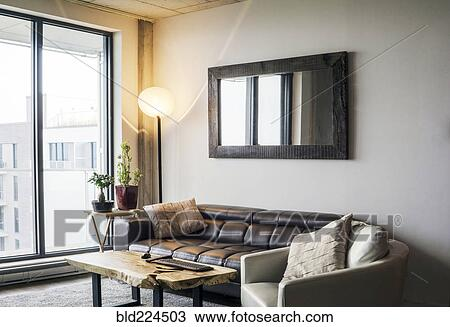 Sofa And Armchair Near Livingroom Window Stock Image Bld224503