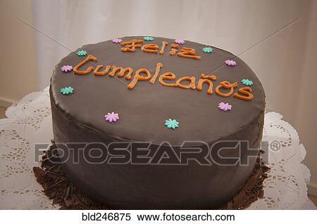 Terrific Chocolate Birthday Cake In Spanish Stock Photography Bld246875 Funny Birthday Cards Online Inifodamsfinfo