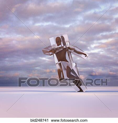 stock photography of running man frozen in suspended animation