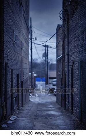 Alley Between Two Apartment Buildings - Royalty Free Clipart Picture