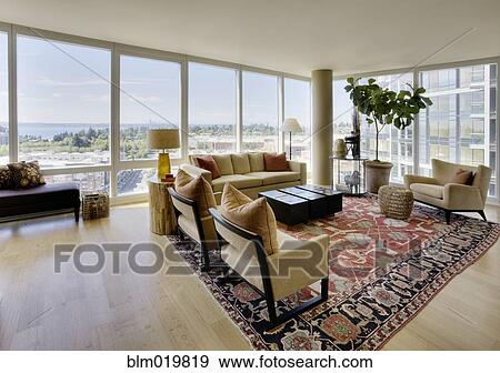 Upscale Living Room In High Rise Condo. Blm019819 Blend RM Images ...