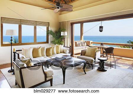 Luxus, Wohnzimmer, Mit, Meerblick