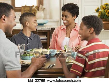 Black Family Eating Dinner Together
