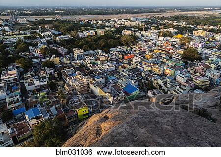 Aerial view of Trichy cityscape, Tiruchirappalli, Tamil Nadu, India Stock  Photograph