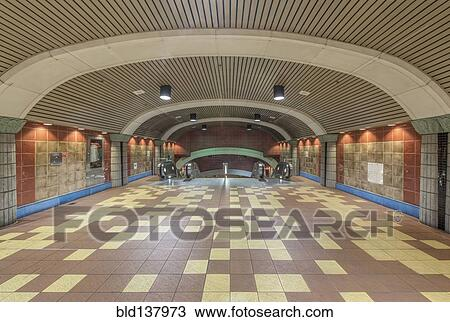 Stock Photo Of Curved Roof And Floor Tiles Of Subway Station
