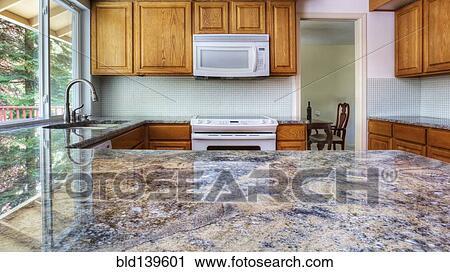 Granit, tresen, zurückwerfend, küche- schränke Stock Bild ...