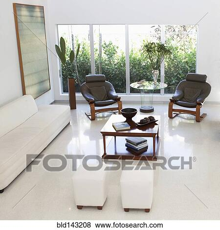 Immagini - alta veduta angolo, di, ottomani, divano, poltrone, e ...