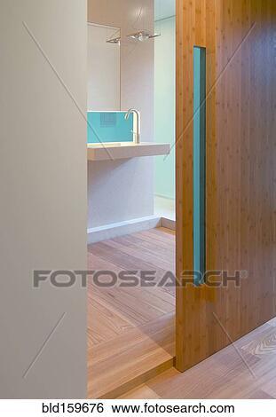Schiebetür, von, modernes, badezimmer Stock Fotograf