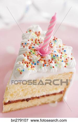Excellent Piece Of Birthday Cake Stock Photo Bn279107 Fotosearch Personalised Birthday Cards Petedlily Jamesorg