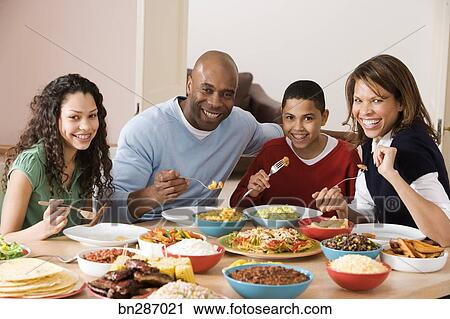 Stock Photography Of Family Eating Dinner Together Bn287021